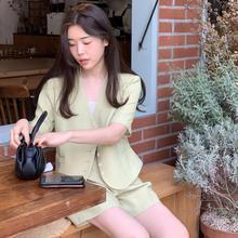 CMAZ 2pcs women summer sets blazer+shorts korean style white v-neck  suit wide-legged pants 66237#
