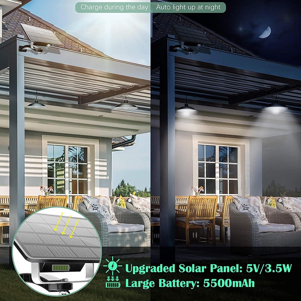 Solar Pendant Lights Vintage LED Solar Shed Lights IP65 Waterproof Wall Mount Security Lighting Yard Garage Porch Front Door D30