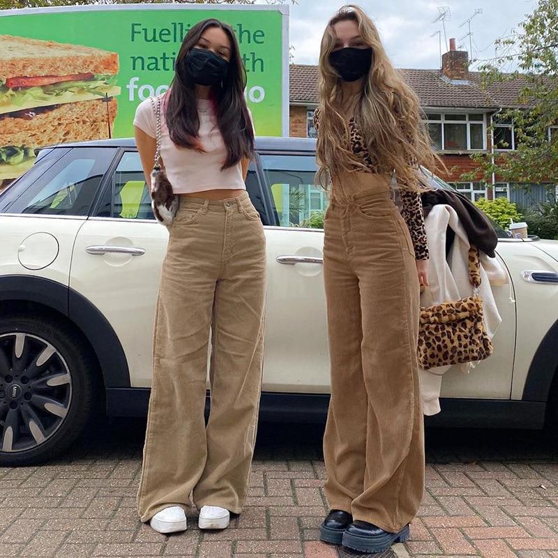 Europe and The United States New Retro Super Light Core Velvet Slacks, Brown Wide Leg Pants, Street