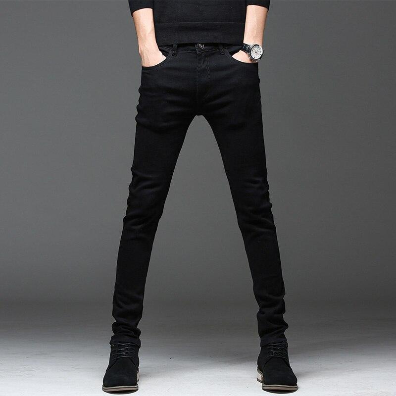 Мужские джинсы высокого качества, черные повседневные облегающие джинсы, прямые трубы, городская мода, новинка 2021