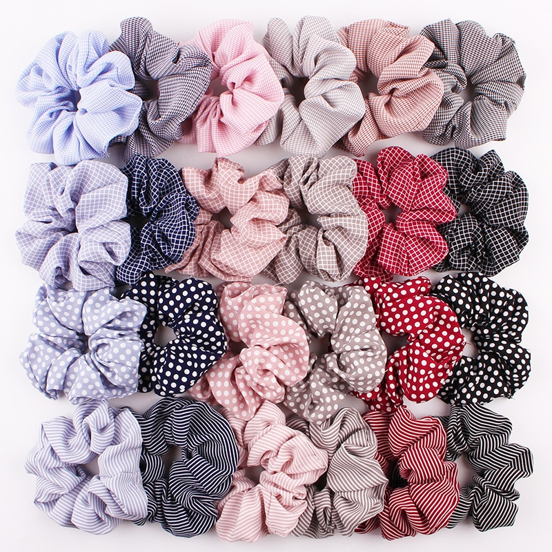 Brand Quality School Girls Crunchy Hair Tie Stripe Plaid Dots Pattern Fluffy Hair Scrunchies Cotton Rubber Bands Accesories