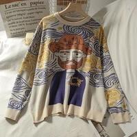 harajuku cartoon women sweaters knitting vintage o neck long sleeve female pullovers winter oversized streetwear sueter mujer