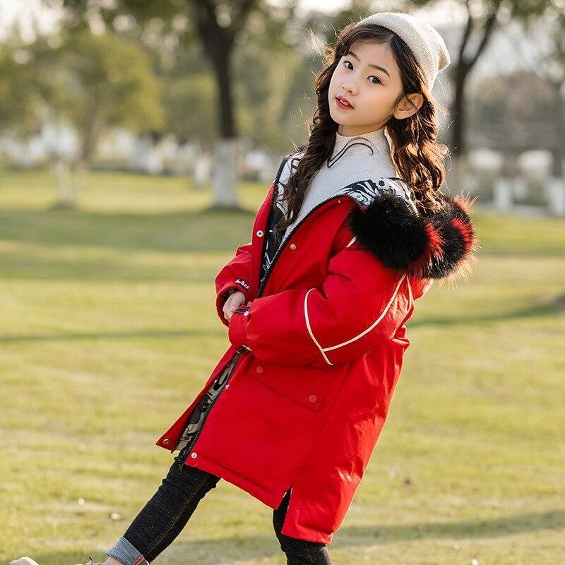 Girls down jacket long 2019 new style 80% white duck down children's big hair collar children's coat fashion WT058