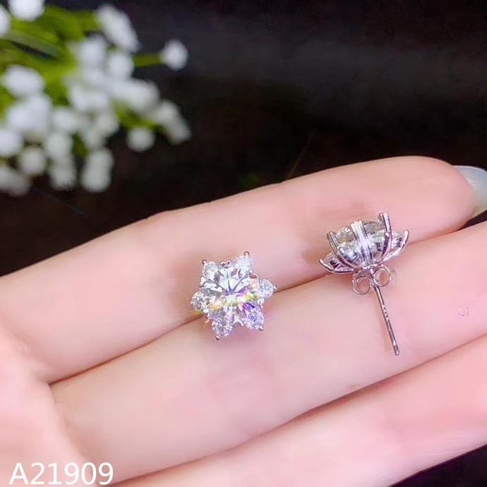 Mosang KJJEAXCMY incrustada de jóias Finas 925 prata esterlina brincos de diamante do sexo feminino apoio certificado de inspeção