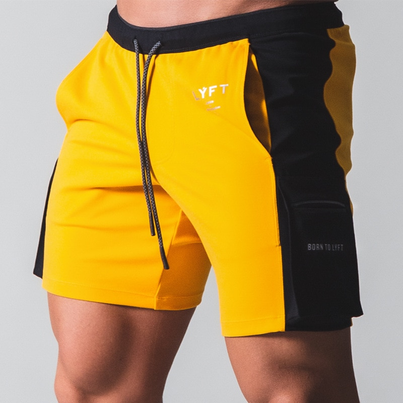New Summer Fitness Shorts Mens Casual Sports Pants Running Stitching Contrast Color Training Letter Printing Multi-pocket