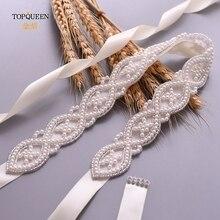 TOPQUEEN-cinturón para vestidos de novia S353A para mujer, cinturón emellado para fiesta de graduación, cinturón de boda con cuentas de perlas, cinturones para niña, faja de boda