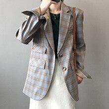 Spring Autumn Korean Fashion Plaid Blazer Jacket Women 2021 New Loose Casual Suit Jackets Long Sleev