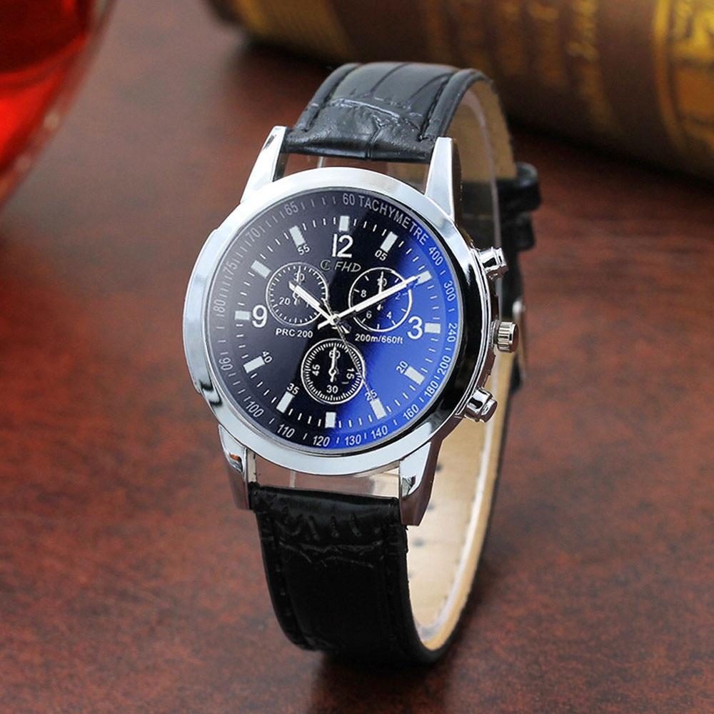 Men's Watch Blue Glass Fashion Watch For Men Leather Belt Sport Top Luxury Quartz Hour Wrist Analog