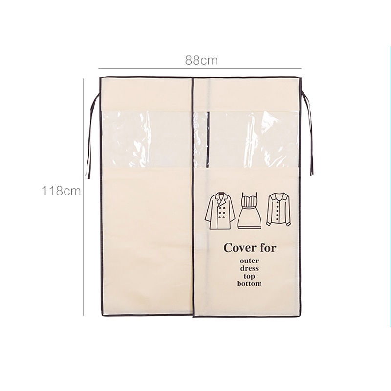 vanzlife Non-woven coat dust proofing cover Household hanging Overcoat Clothing Cover suits pocket Storage Bags closet organizer enlarge