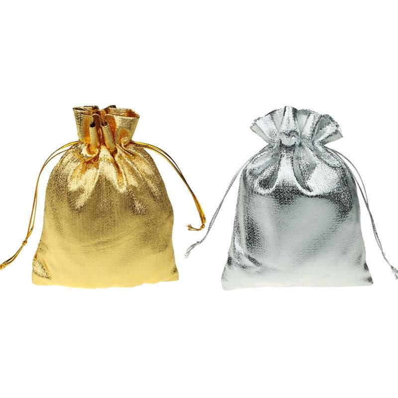 1pc ouro prata cor 9x12cm cordão organza doces presente sacos festa de casamento favour bolsa