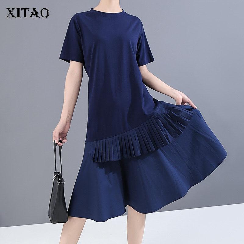 Xitao ruffle hem vestido moda nova feminina pulôver deusa fã 2020 elegante retalhos pulôver casual estilo solto vestido dzl1531