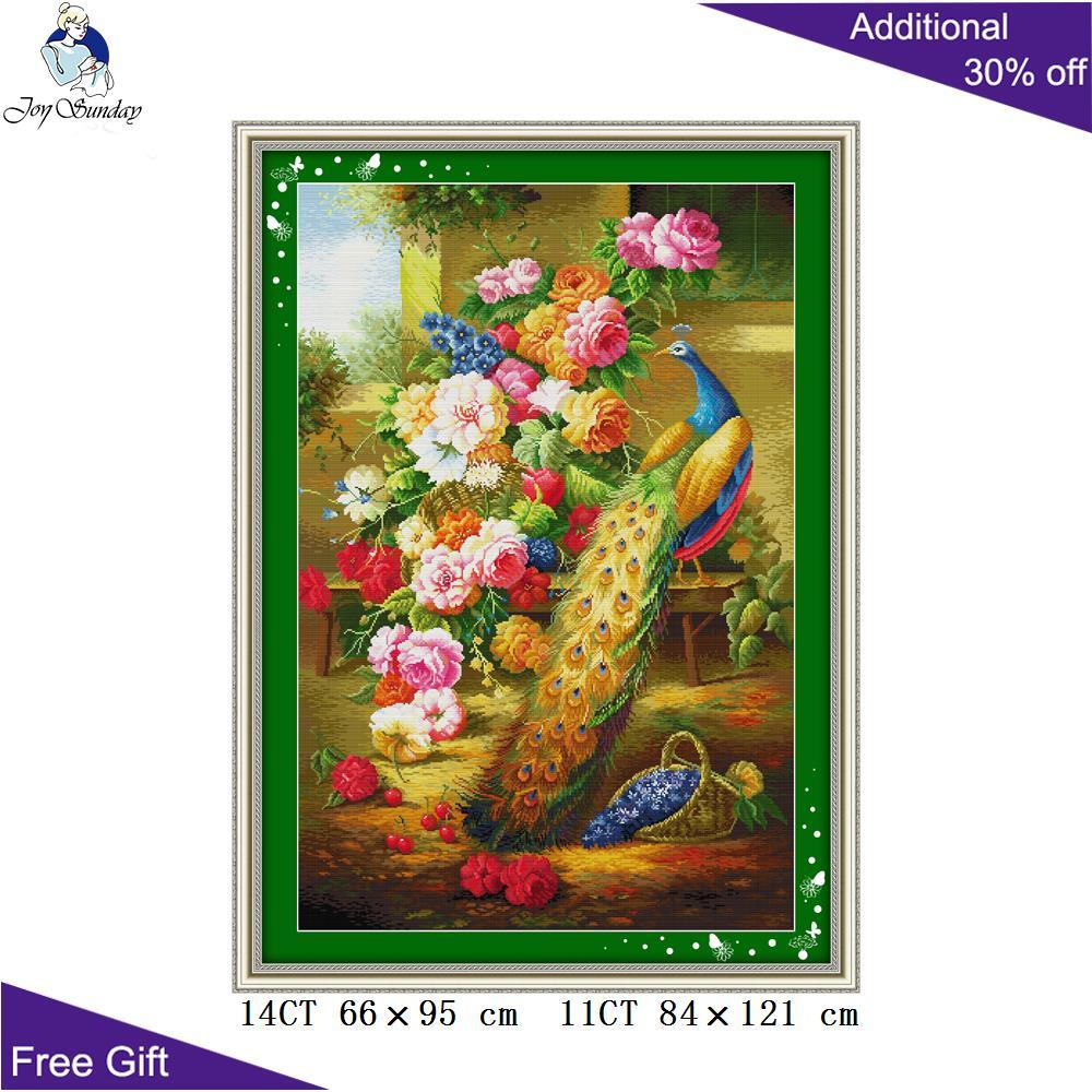 Pavo Real de la peonía del Domingo de la alegría trae la riqueza decoración del hogar D085 (2) 14 ct 11CT estampado y contado pavo real y peonía Kits de punto de cruz