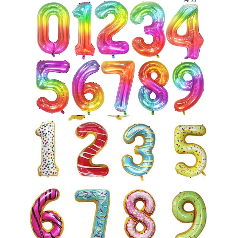 40 zoll candy anzahl aluminium folie ballon donut regenbogen gelee 0-9 große zahlen kinder geburtstag party hochzeit dekoration balloo
