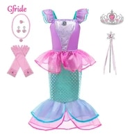 girls princess ariel mermaid dress wig kids christmas little mermaid costume with crown child carnival birthday party clothing