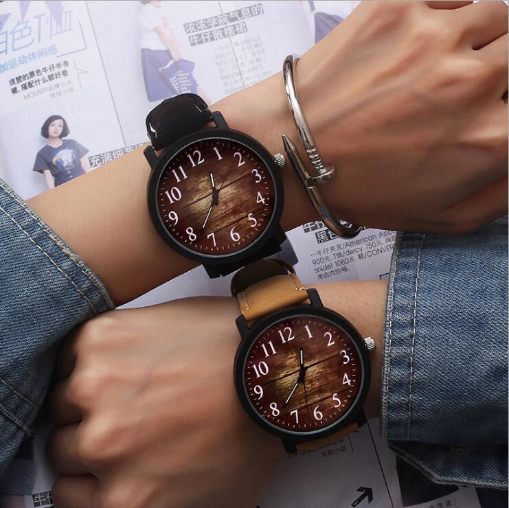Relogio Masculino Watch Fashion Wood grain dial Casual Leather Quartz Watch Men Watches Luxury Wristwatch Hombre Hour Male Clock black ink world map dial watch natural bamboo wood watch fashion casual leather men quartz analog round wristwatches clock male