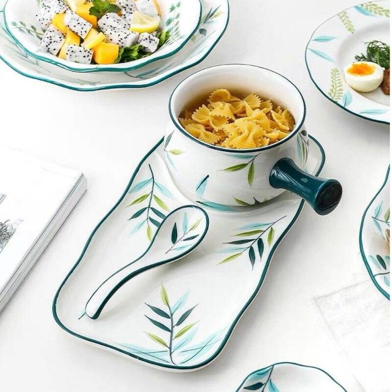 أدوات مائدة الإفطار اليابانية ، أطباق سيراميك منزلية ، حبوب مخبوزة للأطفال ، عصيدة بمقبض ، طقم طعام لشخص واحد