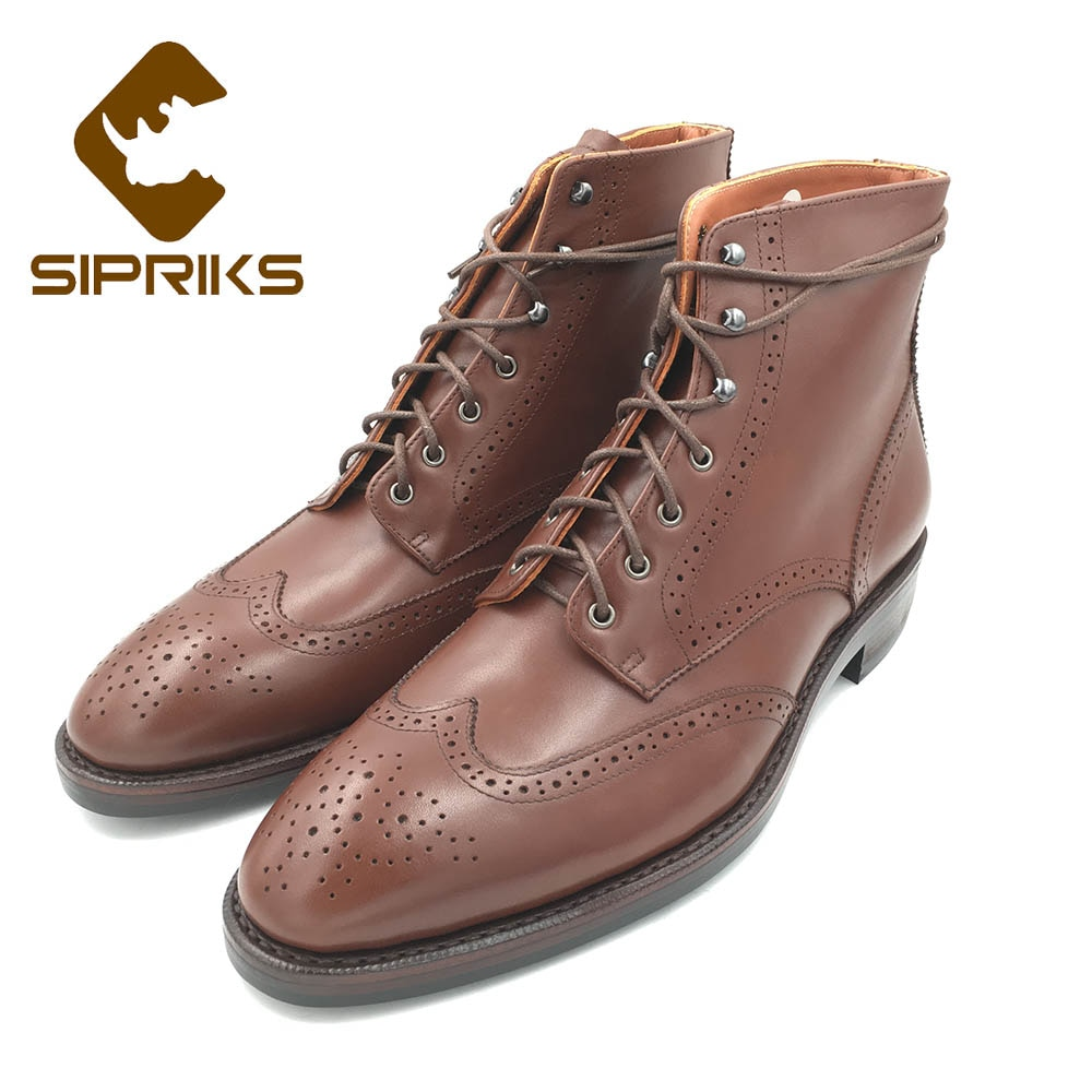 Sipriks-أحذية رعاة البقر للرجال ، البني ، جلد العجل ، أحذية الكاحل ، خمر ، عسكري ، نعل مطاطي ، يدوي