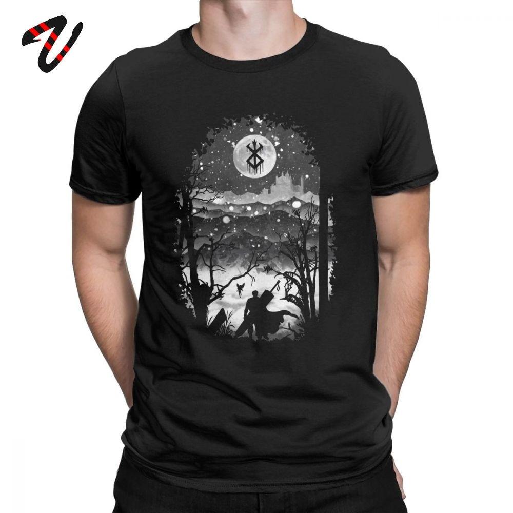 Moon And Berserk T Shirt Swag Mens Tshirt Slim Fit Clothing Men Cotton T-Shirt Retro Tees Christmas Gift Plus Size Summer Tops