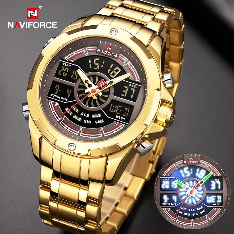 NAVIFORCE Luxury Men's Gold Watches Digital Chronograph Military Sport Quartz WristWatch Stainless Steel Waterproof Alarm Clock
