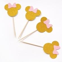 Décorations de gâteaux dessin animé Minnie Mouse   10 pièces, pour fête danniversaire, décoration de gâteau pour réception-cadeaux pour bébé pour enfants, fournitures pour fête danniversaire