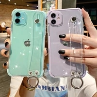 glitter powder holder phone case for iphone 12pro 11 x xr xs max 7 8 plus transparent soft tpu wrist strap shockproof back cover