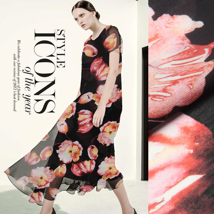 Tela de lino de seda estampada 14 momme 140cm de ancho vestido de seda parche de manualidades para ropa de trabajo Color negro