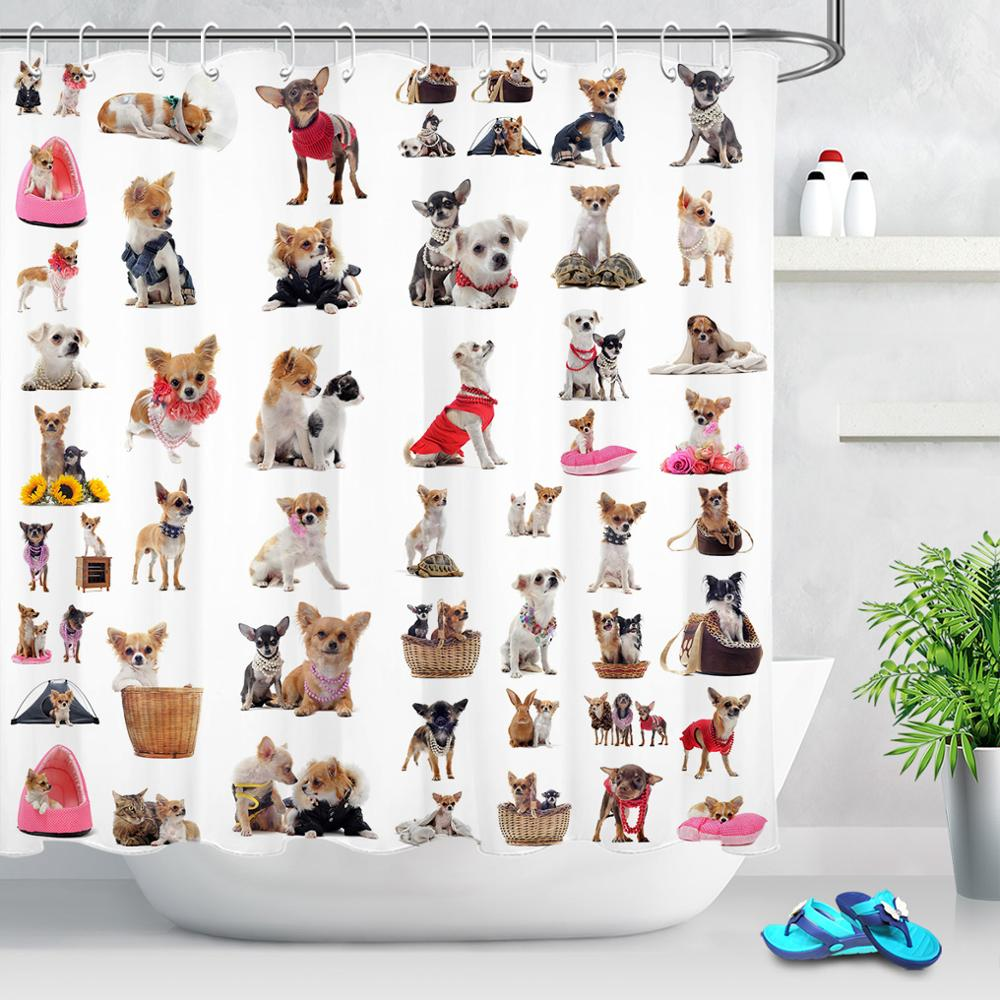 Pequeños cachorros Chihuahuas perro joven Cortina de ducha de tela de baño impermeable de poliéster lindos animales cortina de baño juegos con ganchos