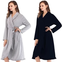 women nightgown bathrobe modal solid ruffle sleepwear full knee length thicken robe high quality home clothes plus size robes