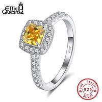 effie queen 925 sterling silver square solitaire ring brilliant cubic zirconia engagement promise wedding ring for bride apr01