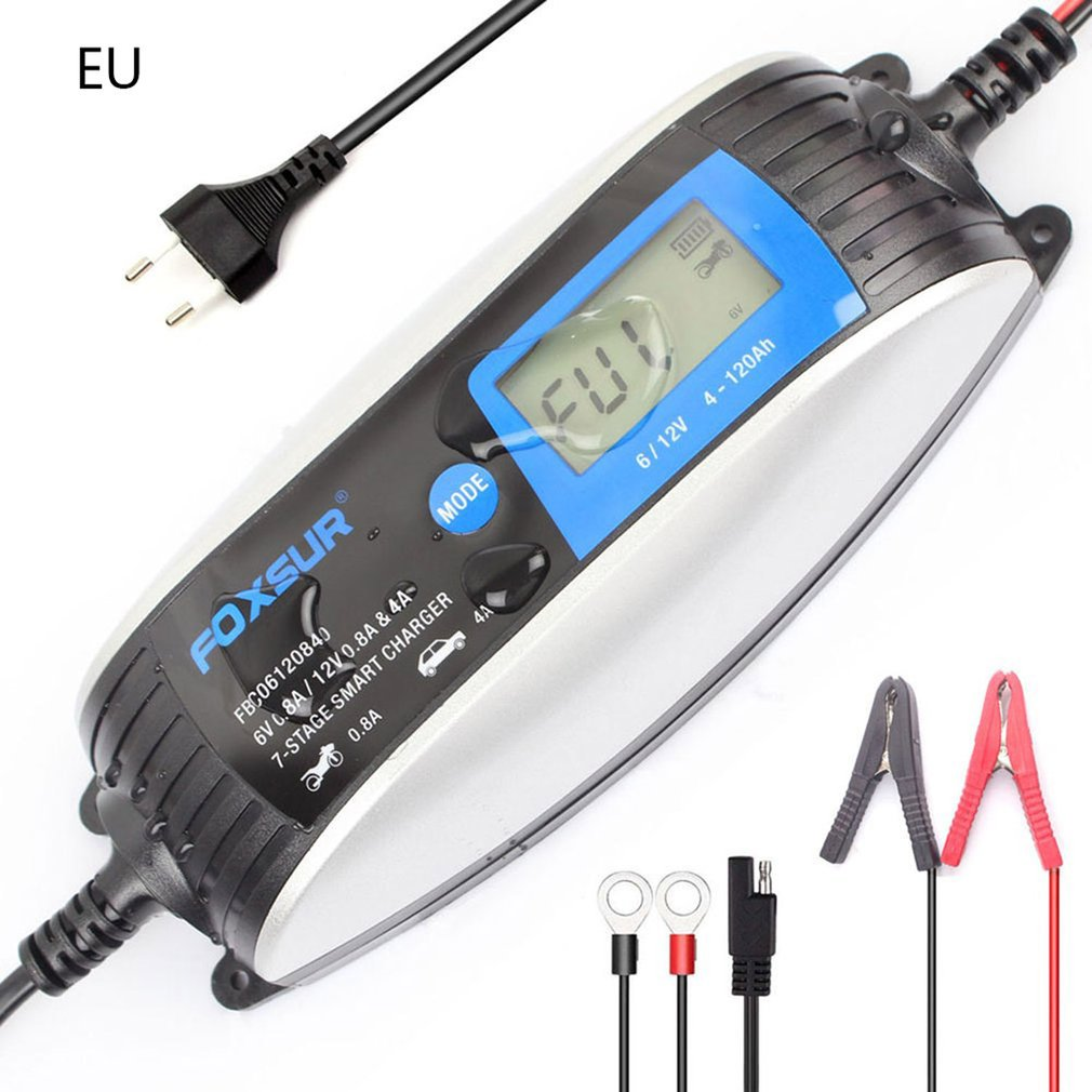 Устройство для зарядки аккумуляторов Foxsur, 6 в, 12 В, а, 4 а, микропроцессор, 7 этапов зарядки, 1 комплект