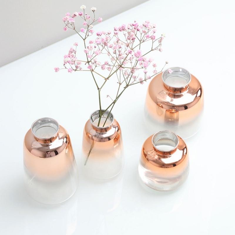 Electroplated Gold Vase Glass Flower Vases Glass Vase For Home Decor Dried Flower Bottle Bar Restaurant Decoration
