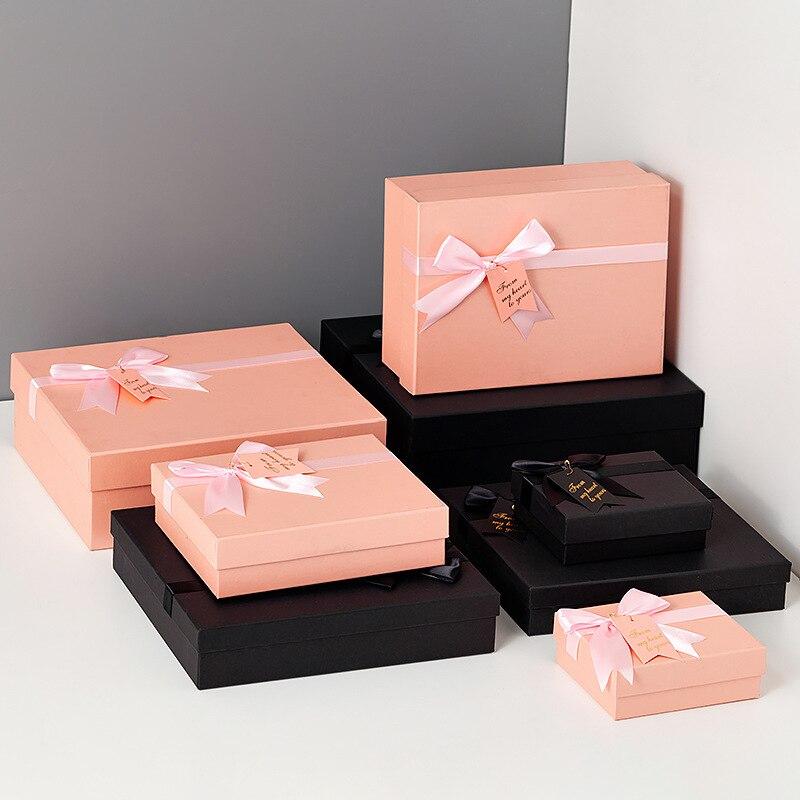 Batom de embalagem caixa de presente de aniversário, caixa de embalagem de papel do arco de rosa simples dia dos namorados