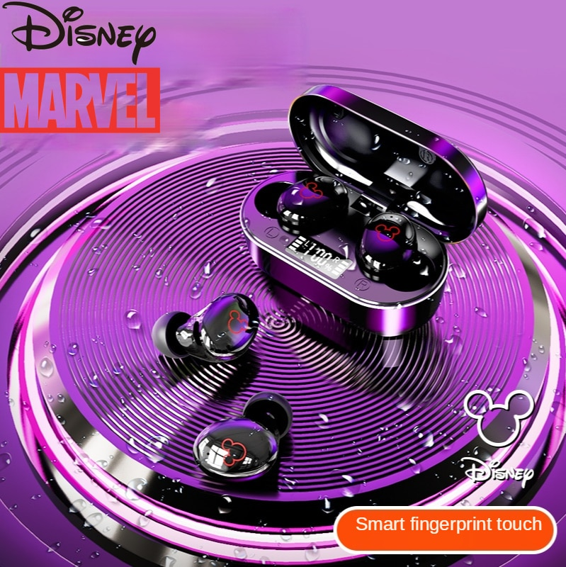 Disney Mickey Portable Bluetooth Headset Supports Call Music Player Power Display In-ear Earbuds Mobile Phone Accessories