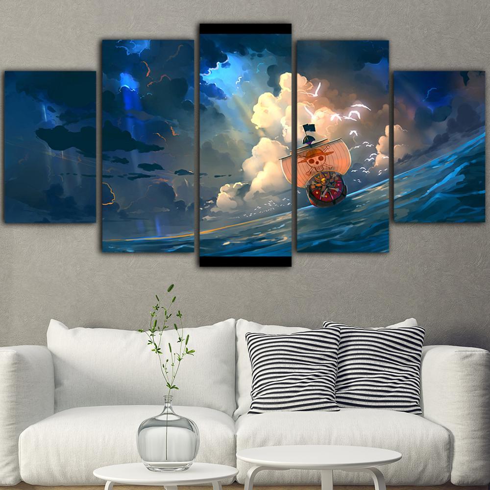 Casa decoração da lona uma peça impressão cartazes navio pirata pintura moderna arte da parede anime japonês sala modular quadro de imagem
