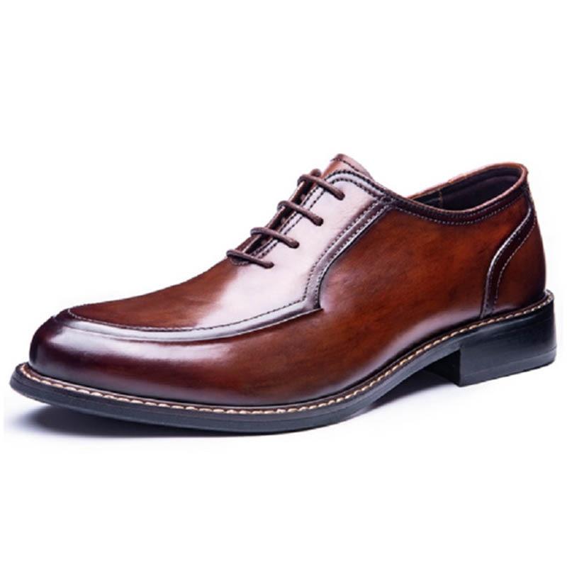Деловые строгие туфли в стиле ретро из натуральной воловьей кожи, модные дизайнерские свадебные туфли, мужские туфли дерби ручной работы фото