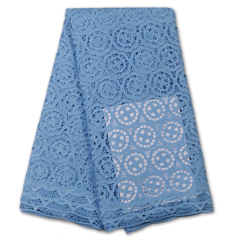 NIAI African Guipure Lace Fabric Embroidered Guipure Lace Elegant African Cupion Cord Fabric Cord Lace Fabric XY3589B-5