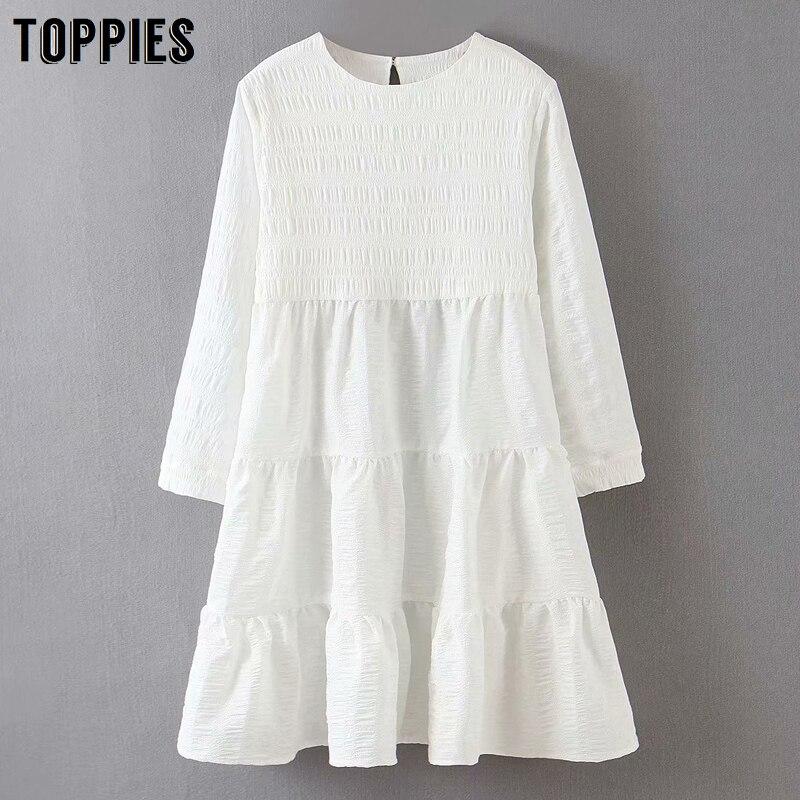 fashion white mini dress women summer dress long sleeve spliced ruffles smocks round neck