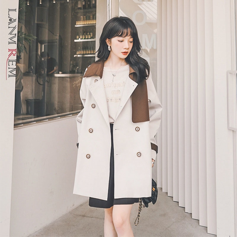 LANMREM 2021 خريف جديد الكورية نمط بأكمام طويلة خياطة التباين اللون سترة واقية امرأة الرجعية عارضة واسط معطف 2W213