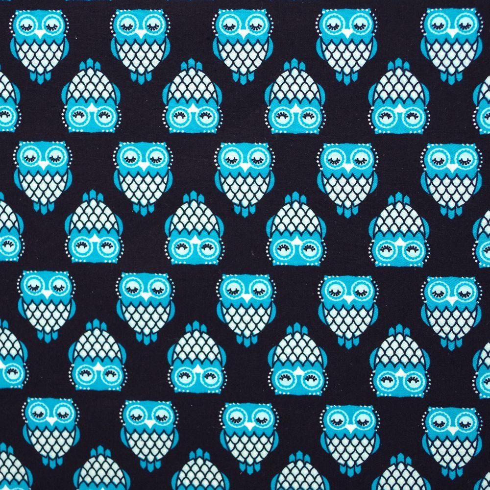 1 ярд животных ткань, мультфильм ткань, совы на черном фоне напечатанный хлопок тканая ткань, животных ткань (ширина = 140 см)