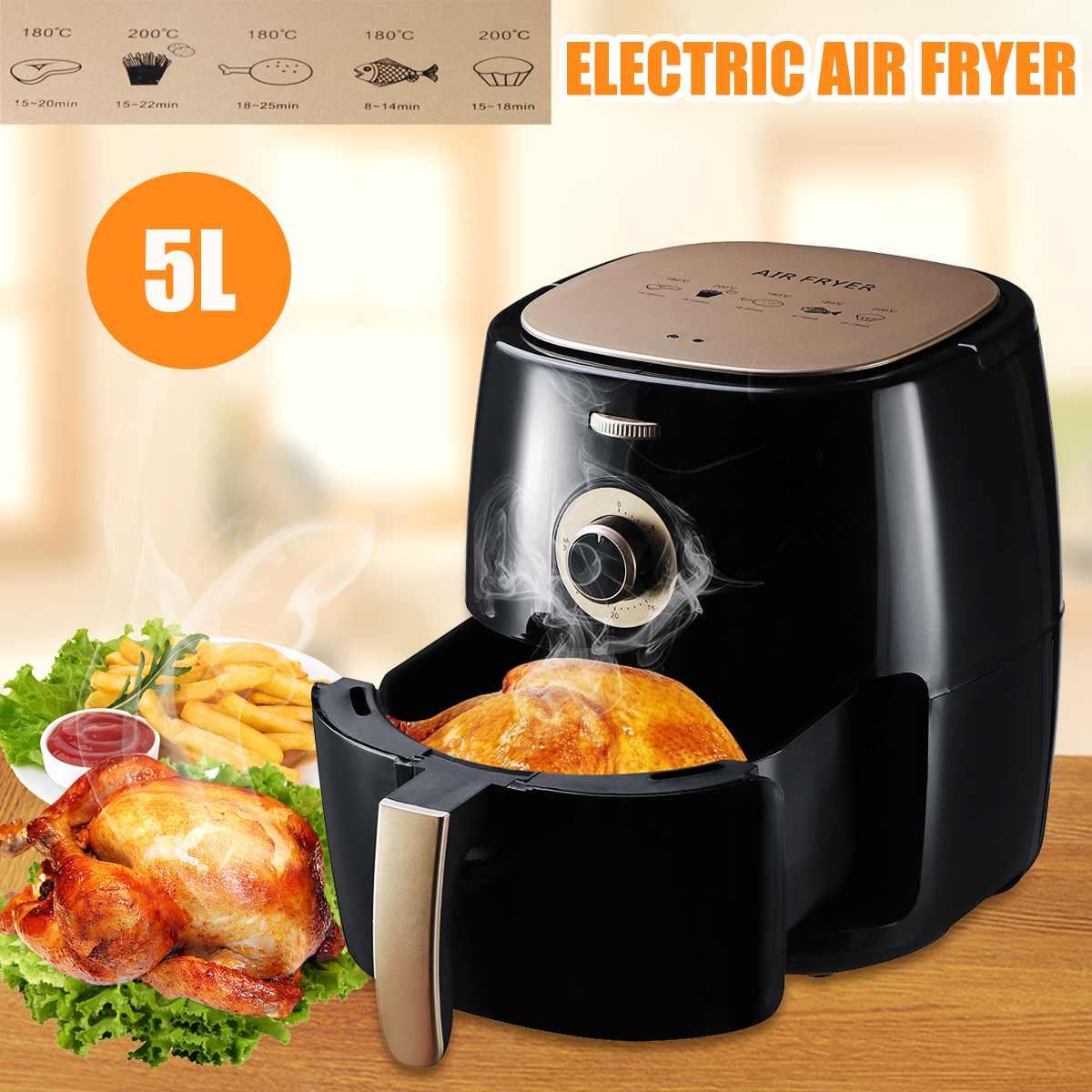 مقلاة هوائية Beocornce متعددة الوظائف بقدرة 1350 وات و5 لتر مقلاة هوائية خالية من زيت الدجاج مقلاة صحية تعمل بالطاقة الكهربائية بزاوية 360 درجة