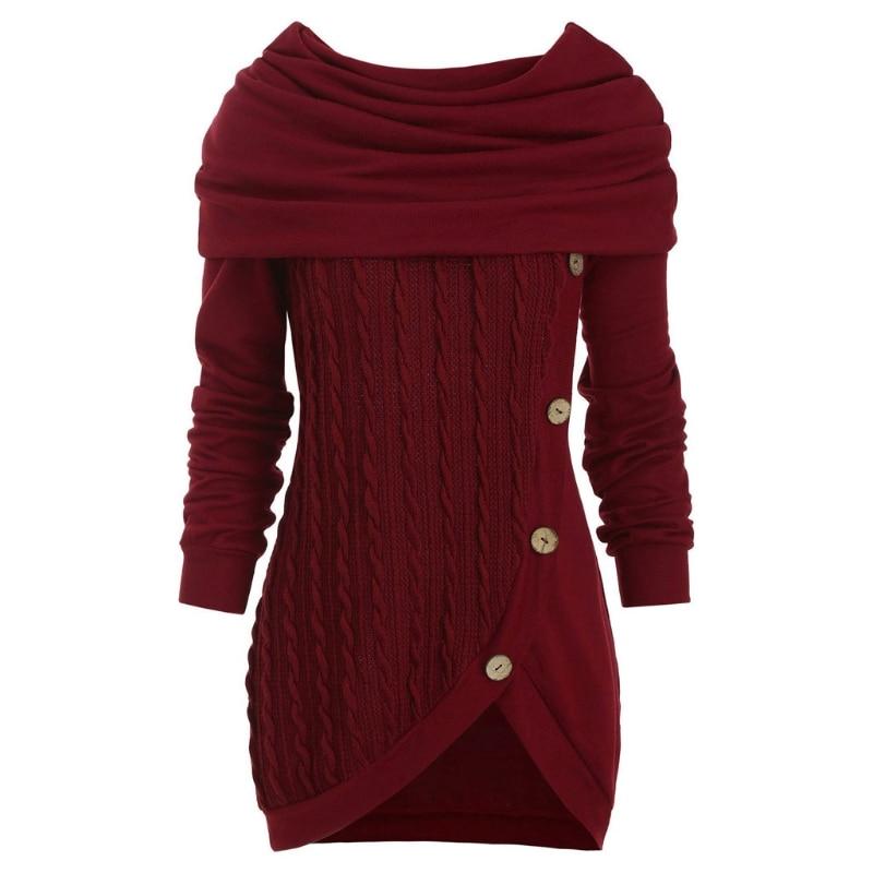 Women Long Sleeve Hooded Cowl Neck Sweater Button Asymmetric Hem Knit Jumper Top enlarge