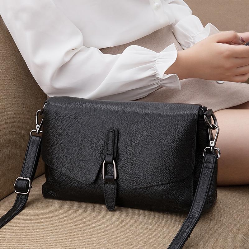 حقيبة يد نسائية من الجلد الطبيعي ، حقيبة كتف من الجلد الصلب ، حقيبة كتف بغطاء ، حقيبة ساعي البريد