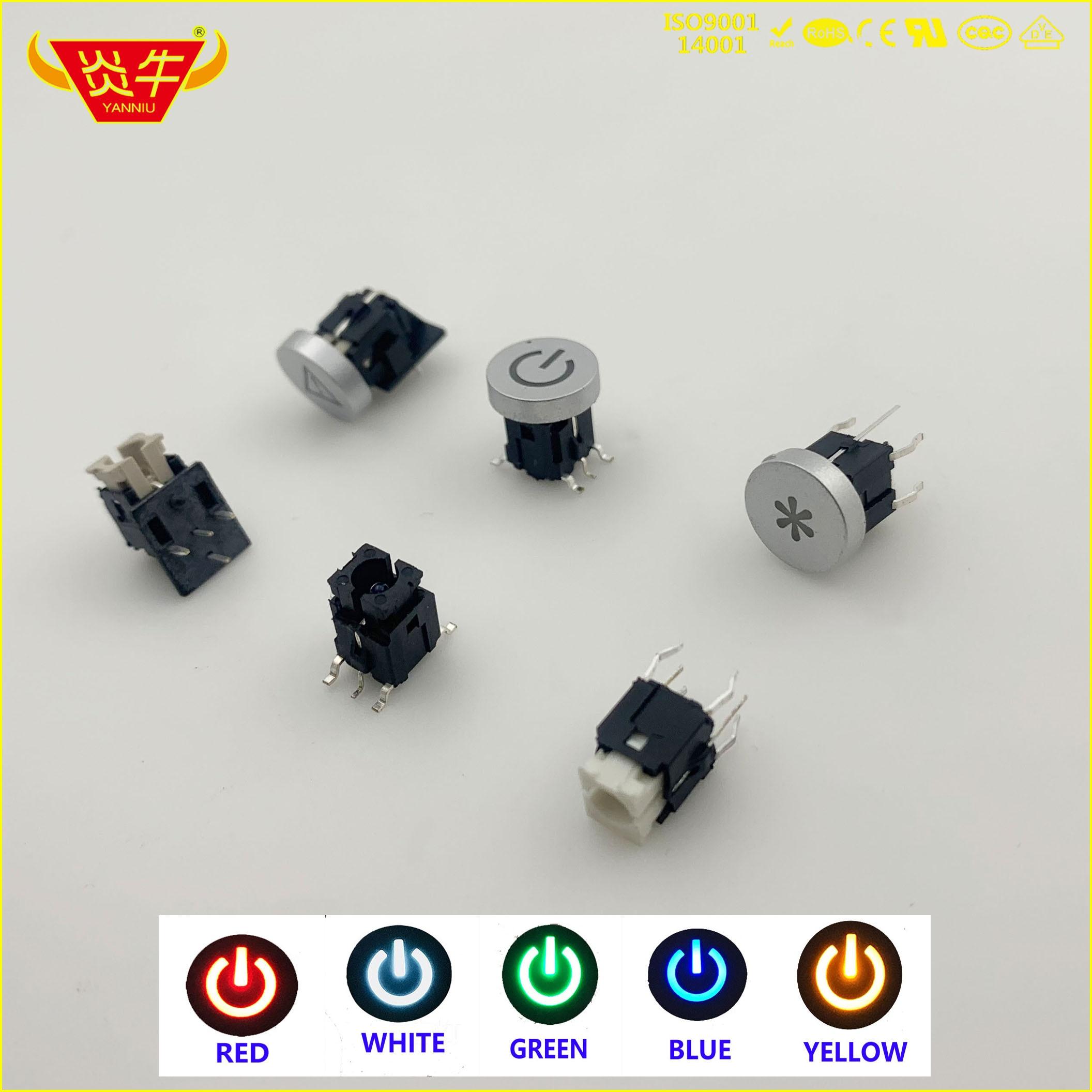 50 Uds 6*6 6x6 SMD 6 pin interruptor tacto de empuje con led Botón MICRO interruptor Lockless autorrecuperación reinicio blanco rojo azul verde amarillo