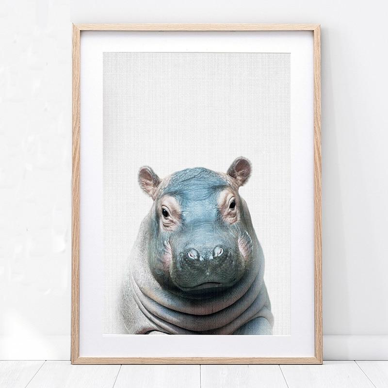 Nursery Wall Art Hippo Print Baby Animal Wall Painting Posters and Prints Cute Hippopotamus Photo Boy Kids Bedroom Decoration