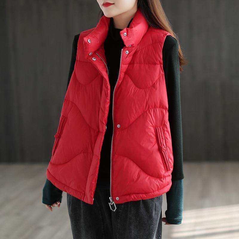 New Duck Down Jacket Women Puffer Jacket Light Down Vest Coats Autumn Winter Stand Collar Warm Woman Puffer Coat Bubble Coat