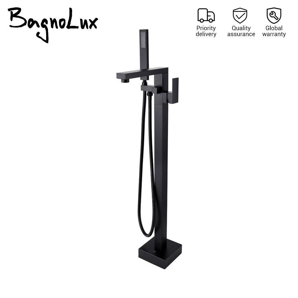 حنفية حمام بفوهة مربعة ، مثبتة على الأرض ، سوداء غير لامعة ، لحوض الاستحمام ، بالجملة