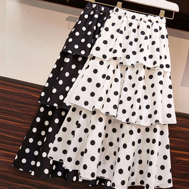 Elegante Falda Midi para mujer, plisada, con estampado Floral, lunares blancos en capas y Faldas de cintura alta elástica, Fondo para mujer de verano 2020