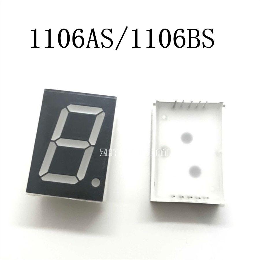 10 piezas X 1 pulgada 1 dígitos rojo 8 segmentos pantalla led 1106AS/1106BS