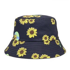 2021 Cotton four seasons Sunflower Print Bucket Hat Fisherman Hat Outdoor Travel Hat Sun Cap Hats for Men and Women 369