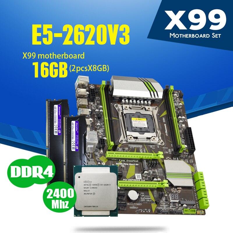 Материнская плата atermiter X99 D4 с процессором Xeon E5 2620 V3 LGA2011-3, 2 шт. X 8 ГБ = 16 ГБ, Память DDR4 2400 МГц